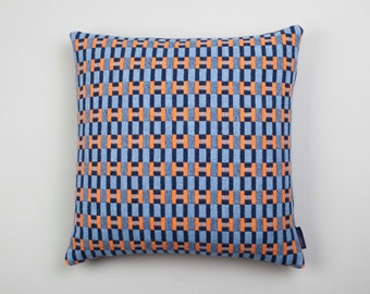 Large Geometric Woven Lambswool Cushion - Paperchain design in Orange, Pale Blue & Navy (Harbour)