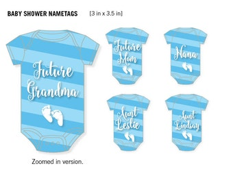 Baby Shower Onesie Name Tags