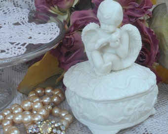 Vintage Bisque White Heart And Angel Jewelery Keeper ~ Valentines Day
