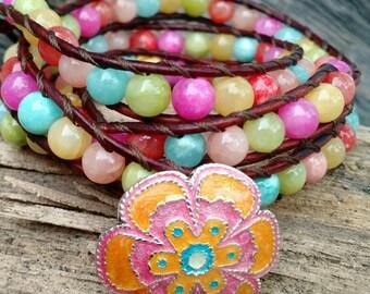 Candy Shop, Wrap Bracelet, Multi Wrap Bracelet, Beaded Leather Wrap Bracelet, Beaded Bracelet, Flower Bracelet Boholilyshoppe
