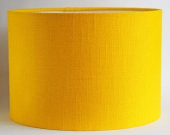 Stunning super cool bright yellow mustard linen fabric drum lampshade - 30cm diameter - colour pop
