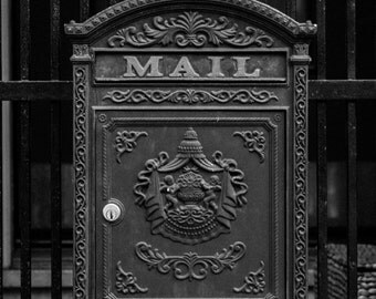 Antique Mailbox In San Francisco   Postal Mail Black And White Photograph