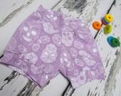 Skull Baby Shorts  baby girl Shorts  girls clothing  girls shorts  sugar skull clothes girls pants  purple shorts  hotpants  lilac