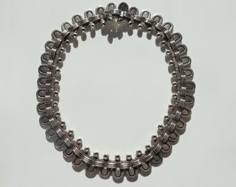 Vintage Taxco Hector Aguilar 940 Silver Half Oval Necklace, Collector Piece, Higher Purity than Sterling, Desirable, Weighty