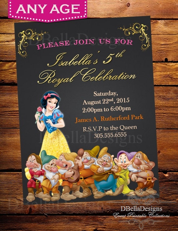 disney princess birthday invitation-disney princess party, Birthday invitations