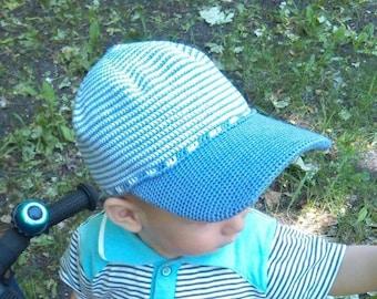 Crochet cap, baseball cap with a plastic visor, cap for the boy, cap for girl, knitted baseball cap, handmade.
