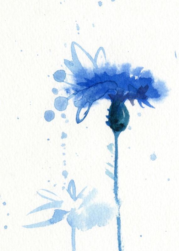blue watercolor flower print cornflower watercolor blue. Black Bedroom Furniture Sets. Home Design Ideas