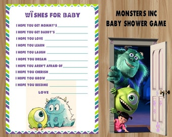 Monsters Inc Wishes for Baby, Monsters Inc Baby Shower Game, Monsters Inc Wishes for Baby Game, Monsters Inc Baby, Wishes for Baby