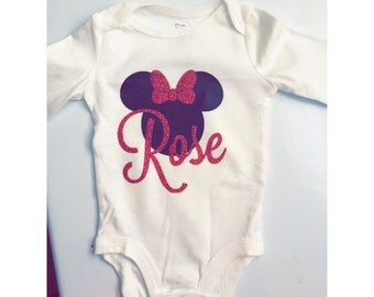 Minnie Mouse Monogrammed Onesie Baby Girl Baby Shower