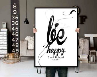 Be Happy Typography Wall Art - Inspirational Wall Art - Motivational Wall Art - Large Black and White Typography Wall Print