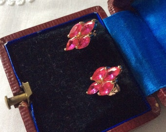 Elegant RUBY VINTAGE Earrings-Gold Plated -  Very Pretty!
