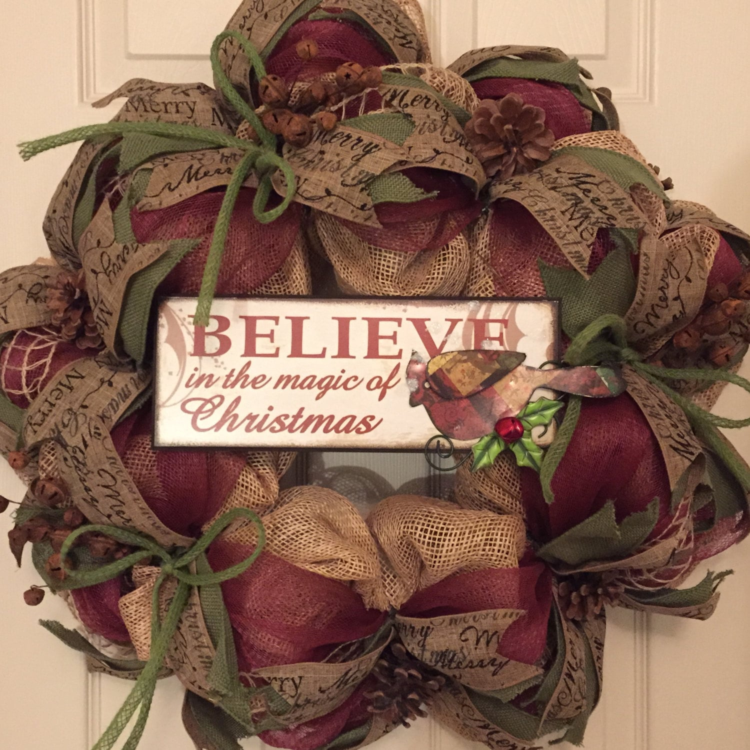 Magic of christmas burlap mesh wreath holiday wreath deco Burlap xmas wreath