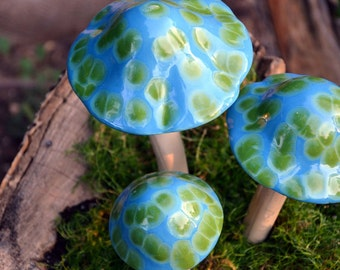 Turquoise Turtle Ceramic Mushroom. Ceramic Mushroom. Garden Accessory.