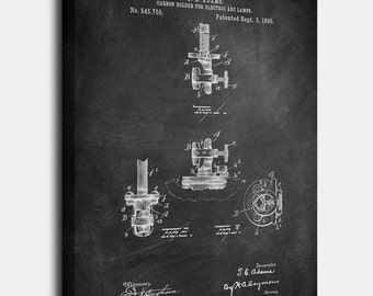 1895 Carbon holder for lamps Canvas Print, Carbon holder for lamps Patent, Vintage Art, Blueprint, Poster,PatentPrints,Wall Art,Decor[Vi69C]