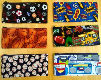 Sports Zippered Pencil Pouch