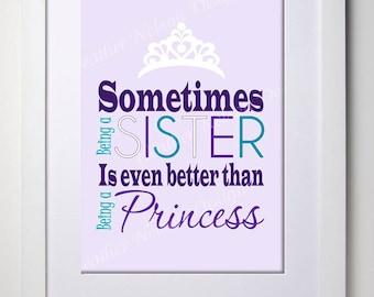 Sister Princess Wall Art Print- DIGITAL