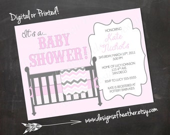 Baby Girl Crib Baby Shower Invitation