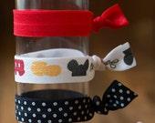 Mickey Mouse Inspired Hair Ties Set of 3, Elastic Hair Tie, Ponytail Holder
