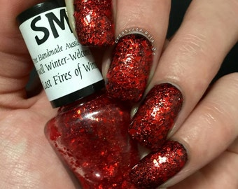 Last Fires Of Winter/ Red Flakies/Indie Nail Polish