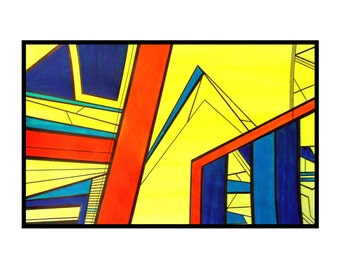 Abstract art cityscape blue yellow orange original drawing sunny skyline bright - Saturday by Caerys Walsh
