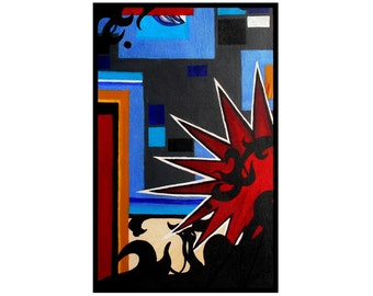 Modern Original Abstract Painting Contemporary Art Blue Red Black acrylic on canvas Revelations by Caerys Walsh