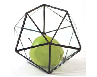 Icosahedron / Geometric Glass Terrarium / Stained Glass Terrarium / Handmade Glass Terrarium
