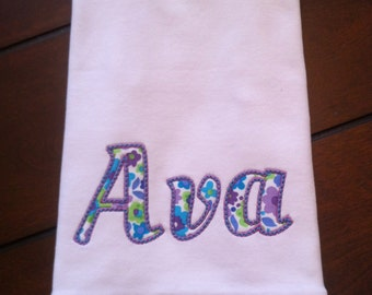 Appliquéd Baby Burp Cloth with ruffles- Personalized with Name - Baby Gift