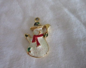 Fancy Christian Frosty the Snowman Charm or Pendant Sparkly
