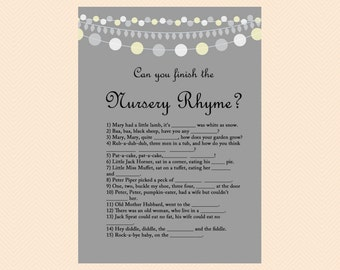 Nursery Rhyme, Can you finish the nursery rhyme, fill blanks of nursery rhyme, Baby Shower Games, Activities, Printable, Download TLC10