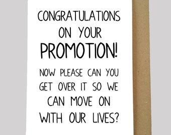 Funny Promotion Card, Congratulations Card, Promotion Card, New Job, Humour, Sarcastic. Blank Inside.
