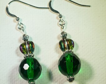 Sparkly emerald and crystal earrings-A104