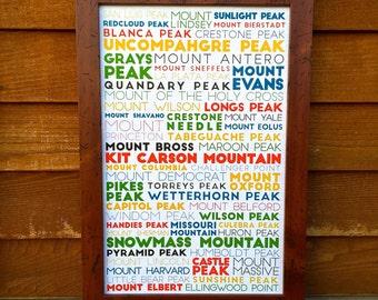 "Colorado Fourteeners Word Print (11x17"")"