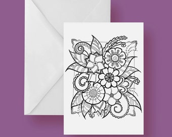 Printable Flower Color-It-Yourself Greeting Card 5x7 inches Blank Inside