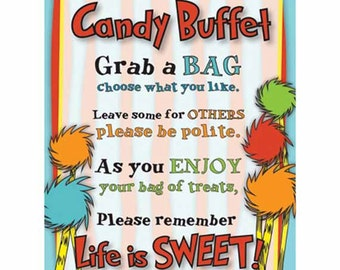 Dr Seuss Candy Buffet Sign