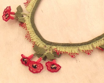 Turkish OYA Lace - Silk Necklace  - Lattice/Morning Glory - Red