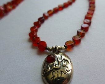 Sterling Silver Fire Pendant with Carnelian and Czech Bead Necklace
