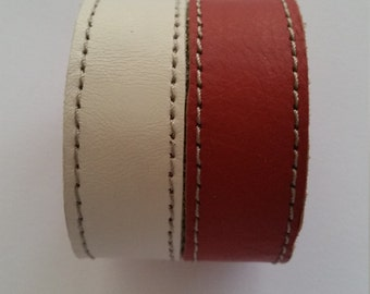 Leather bracelet, genuine leather wristband, first class leather cuff bracelet, wrist band, Red and white bracelet