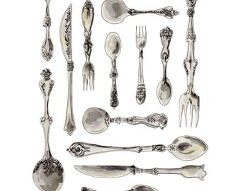 Vintage Cutlery & Silverware Collector - Original Watercolor Illustration || Print