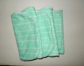 Ready to Ship Baby Burp Cloths - Set of 3 - Mint Herringbone Fabric- Contoured