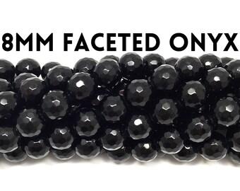 8mm Faceted Genuine Onyx Gemstone Strand (47 Beads