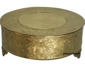 """14"""" gold or silver round cake stand/Metal wedding cake stand/Party/Anniversary/Special occasion cake stand/14 inch gold cake stand"""