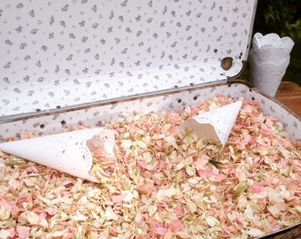 A Vintage-Style Suitcase Filled with Lavender or Natural Dried Petal Confetti and 40 Pre Made Cones