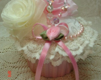 Victorian, Shabby Chic Cupcake Pincushion ~ Pink and ecru