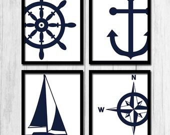 Navy Blue Prints Anchor Art Sailboat Art Digital Download Sailboat Print Compass Rose Printables Wall Decor Navy Blue Nautical Prints