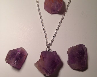 Chunky raw amethyst crystal pendant, custom chain options