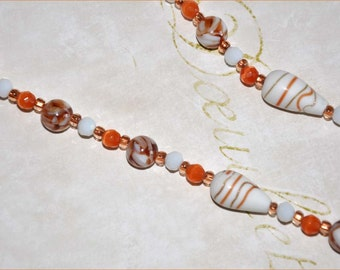 Shell Bead Necklace, White Shell Necklace, Milkglass Beads, Marbled Glass Beads, Long Beaded Necklace, Orange Necklace, Lampwork Necklace