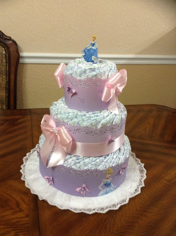 cinderella theme diaper cake elegant princess baby shower 3 tier
