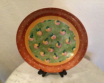 "Vintage Beautiful Bois D' Arc Coupe Dinner Plate ""Apricots"" By Heather Outlaw Kurpis, For The Essex Collection, Raul Da Bernarda, Portugal."