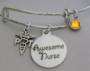 Physical Therapist / Awesome NURSE CHARM / Adjustable Bangle Bracelet W/ Birthstone Crystal Drop &  Charms Gift For Her Usa  N1-