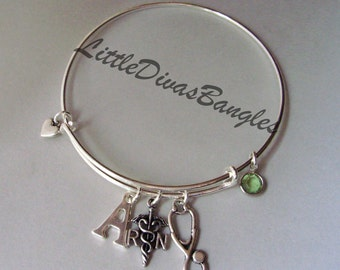 INITIAL / Registered Nurse Charm /  Stethoscope CHARM / Adjustable Bangle W/ Birthstone Crystal Drop /Gift For Her-  Usa  Md1